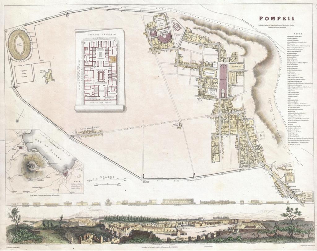 Mappa antica degli scavi di Pompei